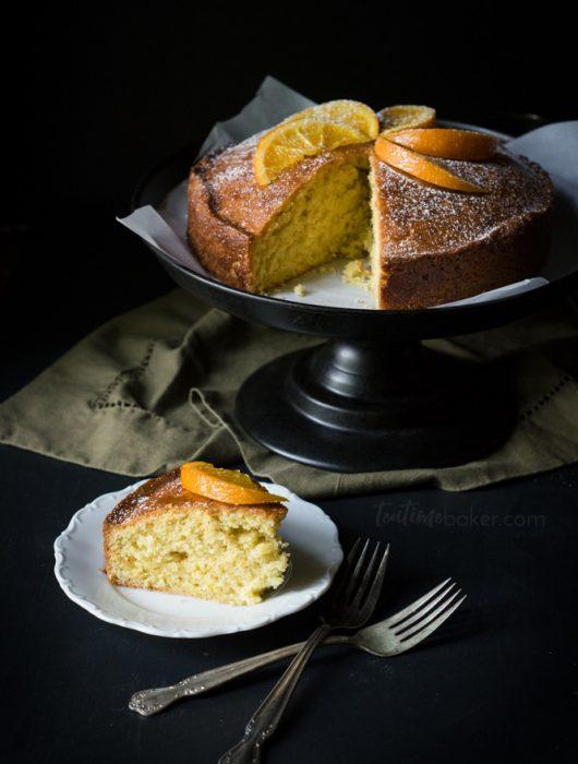 Enjoy a slice of Orange Madeira Cake topped with a tasty cinnamon rum glaze | Teatime Recipes | British Cake Recipe