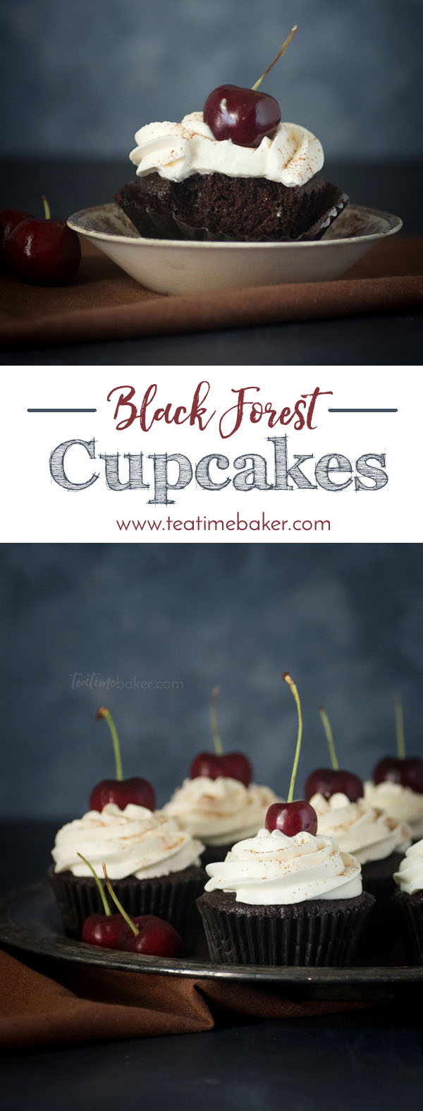 Dessert Recipe | Chocolate Cupcakes | Black Forest Cupcakes | Stabilized Whipped Cream | Easy Desserts