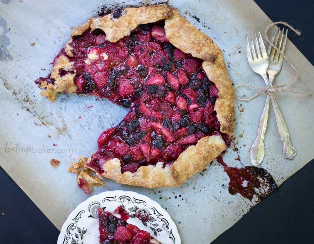 Flaky butter crust surrounds a scrumptious berry filling in this rustic Triple Berry Galette | Summer Dessert Recipes