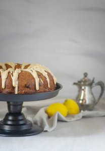 Lemon and blueberries pop against a cake made with greek yogurt and buttermilk | Cake Recipes | Bundt Cake | Summer Cakes