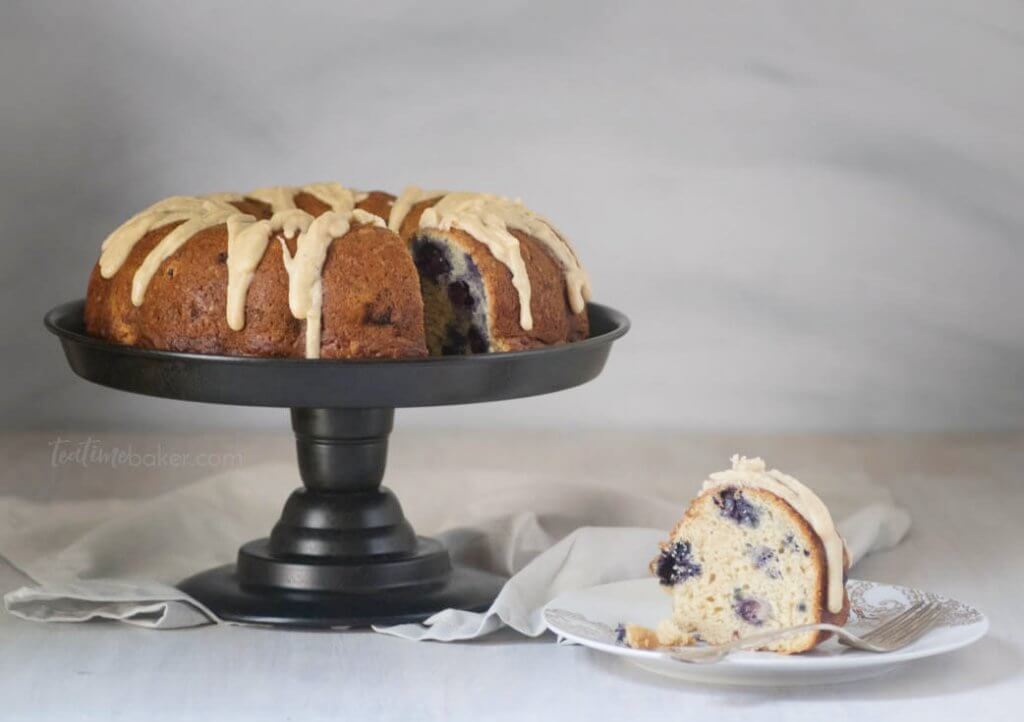 Lemon Blueberry Bundt Cake is topped with a lemon brown butter glaze | Cake Recipes | Bundt Cake | Summer Cakes