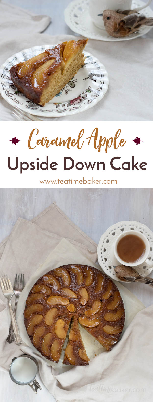 Celebrate fall with a Caramel Apple Upside Down Cake! Fresh apples and homemade cinnamon caramel topped with a soft buttermilk spice cake is the perfect dessert.