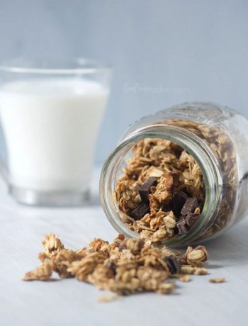 Healthy Peanut Butter Chocolate Chunk Granola is a great breakfast or after school snack   Granola Recipe