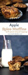 Apple Spice Muffins are the perfect fall breakfast. Topped with a cinnamon pecan streusel for just the right amount of crunch.   Apple Muffin Recipe   Fall breakfast food   The Teatime Baker #applespicemuffins