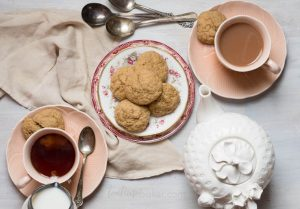 True to the name Chai Spice Cookies are a cup of chai in cookie form. Soft and delicately spiced with a sparkle of sugar on top they are a teatime treat! | The Teatime Baker | Holiday Cookie Recipe | #chaicookies