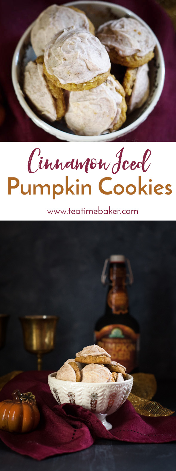 Soft and buttery pumpkin cookies are topped with cinnamon icing for a burst of fall flavor. This is a cookie you don't want to miss! | Pumpkin Cookie recipe | The Teatime Baker | Holiday cookies | Favorite fall cookies #pumpkincookierecipe