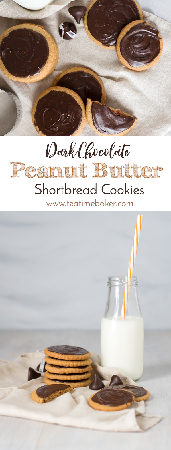 A sophisticated take on the popular peanut butter blossom cookies. Each bite contains both the peanut butter base and dark chocolate topping in these Dark Chocolate Peanut Butter Shortbread Cookies | Peanut Butter Cookie Recipe | The Teatime Baker | Holiday Cookies | #peanutbuttercookies