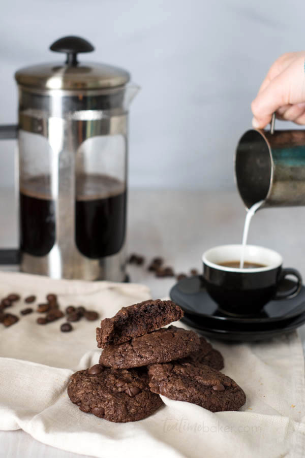 Double Chocolate Espresso Cookies are full of deep, dark, dense, rich chocolate with an espresso finish. A chocolate lovers dream! | Holiday Baking | The Teatime Baker | Holiday Cookies | #doublechocolateespressocookies