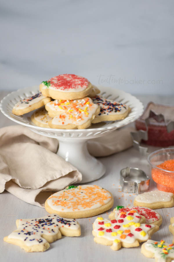 Soft, sweet and buttery, Grandma's Sugar Cookies are beautiful and delicious. Great for decorating with kids or holiday cookie parties! | Cookie Decorating | The Teatime Baker | Holiday Cookies | #sugarcookierecipe