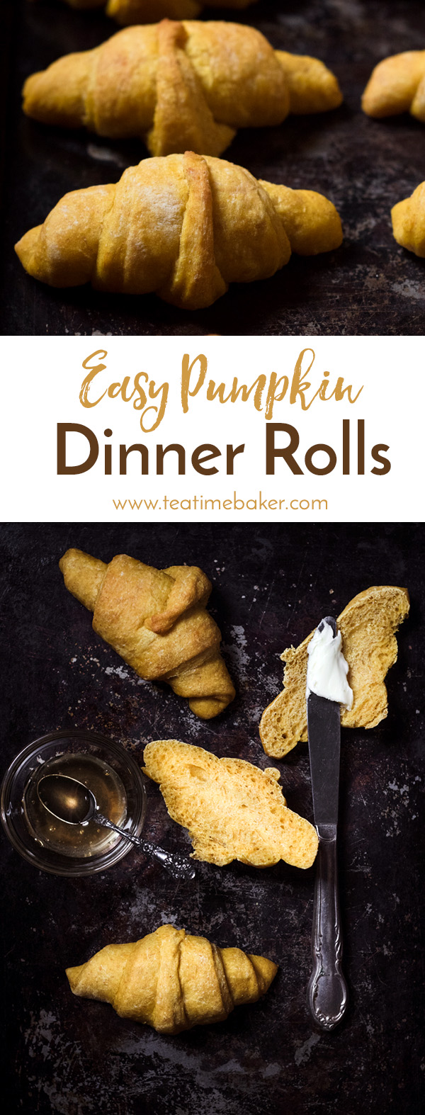 Beautifully soft and golden these Easy Pumpkin Dinner Rolls are the perfect side dish for Thanksgiving dinner. Try to save a few for breakfast too! | Bread Recipe | The Teatime Baker | Holiday Baking | Thanksgiving side dish | #easypumpkinrolls