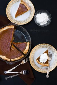 Enjoy a delicious but still guilt free holiday with Healthy Pumpkin Pie. The smooth creamy filling is just eggs, pumpkin, coconut milk, raw sugar and spices! | Thanksgiving Dessert | Holiday Baking | The Teatime Baker | #healthypumpkinpie #holidaypierecipe
