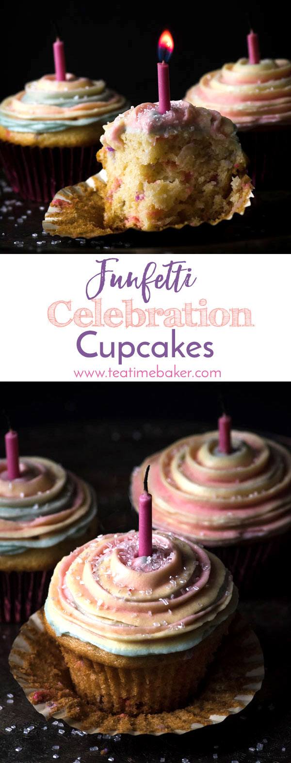 Funfetti Celebration Cupcakes are made from scratch in just one bowl! Customize the colors to any event. Soft and delicious vanilla cake topped with a swirl of colorful icing is sure to be a favorite. | Funfetti Cupcakes from scratch | Homemade Funfetti Vanilla Cupcakes | Multi-colored icing | The Teatime Baker | #funfetticelebrationcupcakes #homemadevanillafunfetticupcakes