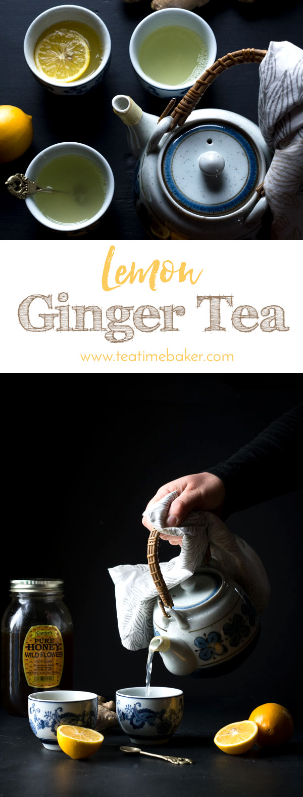 Chase the winter blues with this Lemon Ginger Tea Recipe. Sweet, spicy and tart it's just what the doctor ordered for a winter evening snuggled in front of the fireplace. | Healthy Lemon Ginger Tea Recipe | The Teatime Baker | Fresh Tea | #lemongingertea