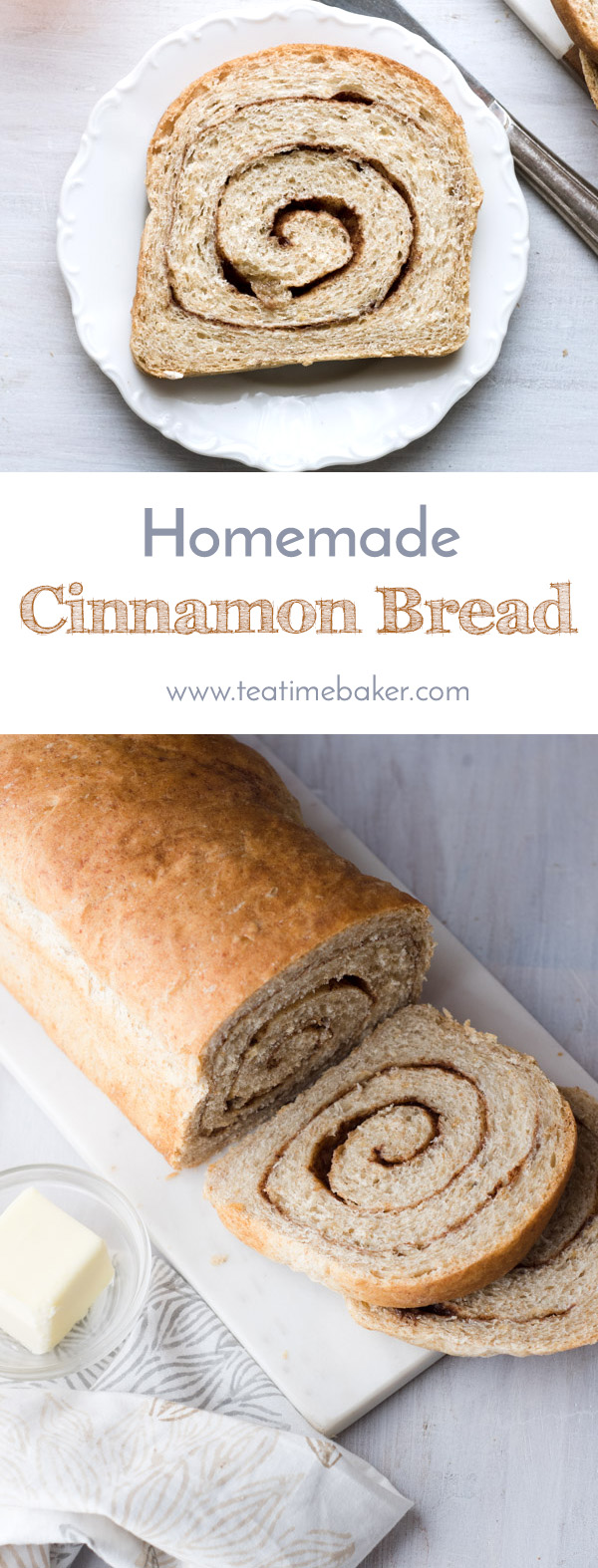 Bake your own homemade cinnamon bread with this quick and easy recipe. Soft and tender bread rolled up with a healthy dose of cinnamon and brown sugar - perfection! Vegan bread recipe. | The Teatime Baker | Easy Cinnamon Bread | Bread from scratch | #homemadecinnamonbreadrecipe #easyvegancinnamonbread