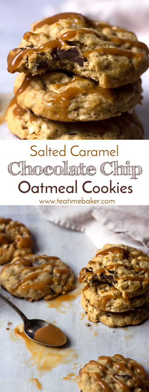 Soft and chewy oatmeal cookies are kicked up a notch with dark chocolate chips, a drizzling of homemade caramel, and a sprinkle of sea salt. Super easy chocolate chip oatmeal cookie recipe, no chilling required! | The Teatime Baker | Chocolate Chip Oatmeal Cookie Recipe | Soft and chewy chocolate chip cookies | Homemade Salted Caramel | #saltedcaramelchocolatechipcookierecipe #chocolatechipoatmealcookies