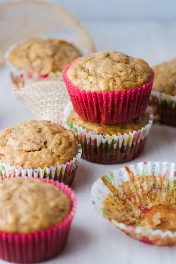 A delicious stack of Healthy Breakfast Muffins in spring papers