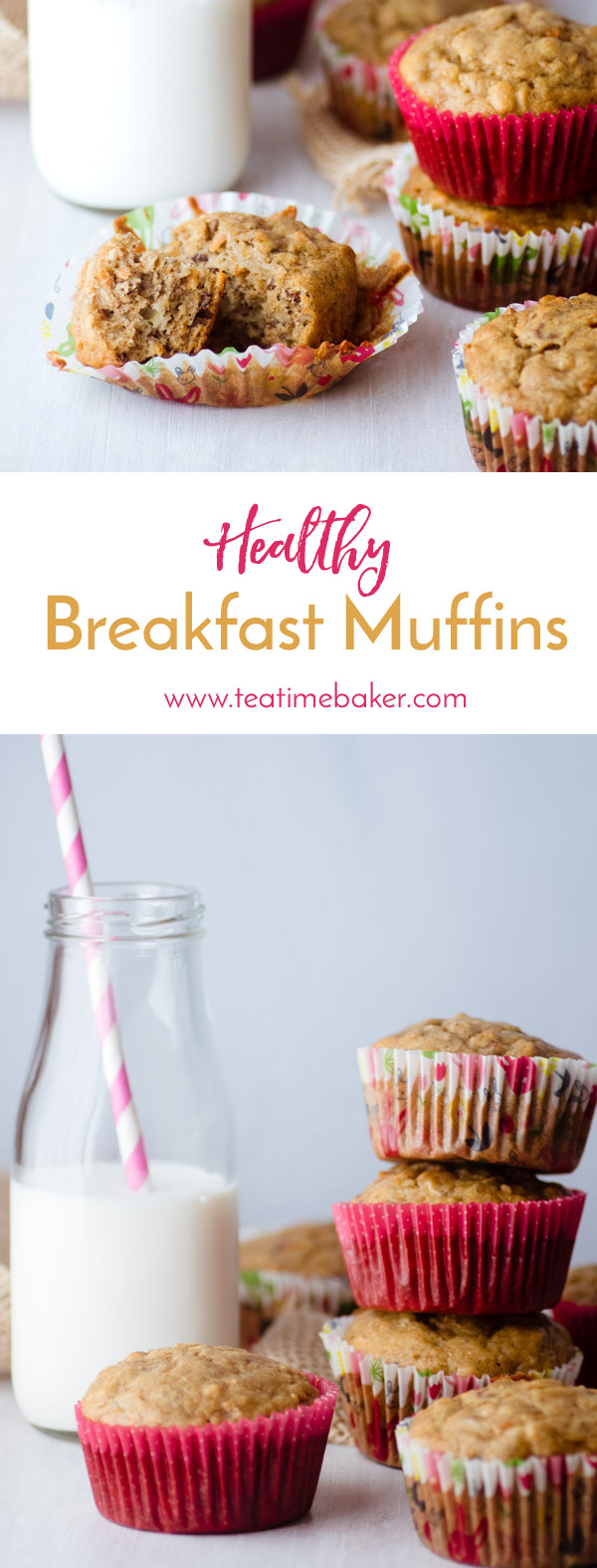 Healthy Breakfast Muffins make a great breakfast when you need something quick in the morning. They are also a kid-friendly snack for Moms on the run! Packed with carrots, bananas, nuts and oatmeal, they are just what you need for busy mornings. | Healthy oatmeal muffin recipe | Kid friendly breakfast muffins | Carrot, Banana, Oatmeal muffin recipe | The Teatime Baker | #healthyoatmealmuffinrecipe #healthybreakfastmuffins #dairyfreemuffins