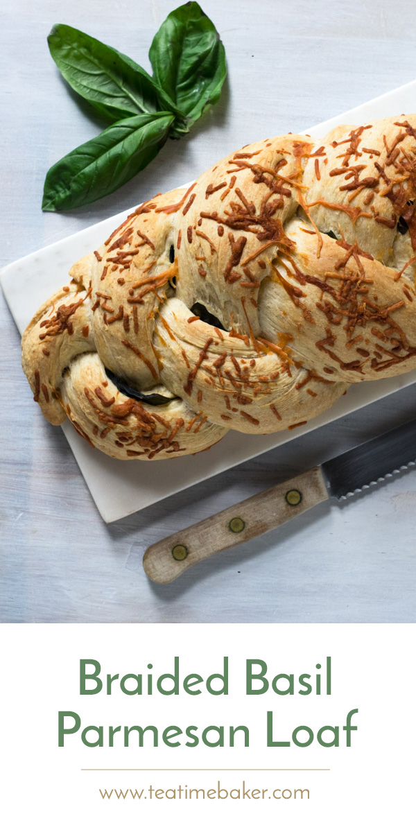 Capture the fresh taste of summer with this Braided Basil Parmesan Loaf. A simple but flavorful recipe that is sure to please. | The Teatime Baker | Braided Basil Parmesan Loaf | simple bread recipe | easy summer bread | #basilparmesanbreadrecipe