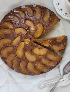 Celebrate fall with a Caramel Apple Upside Down Cake! Fresh apples and homemade cinnamon caramel topped with a fluffy buttermilk spice cake is the perfect dessert   Fall Dessert   Apple Cake   The Teatime Baker #caramelapplecake
