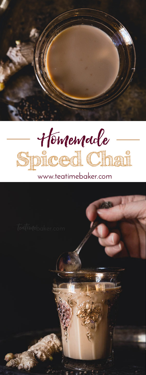 Homemade Spiced Chai is the perfect cup of tea for chilly autumn evenings. Fresh ginger and cardamom make it both tasty and good for fighting off a cold! | Hot Tea Recipe