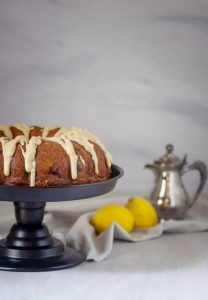 Brown butter icing tops a hearty lemon bundt cake bursting with fresh blueberries | Cake Recipe