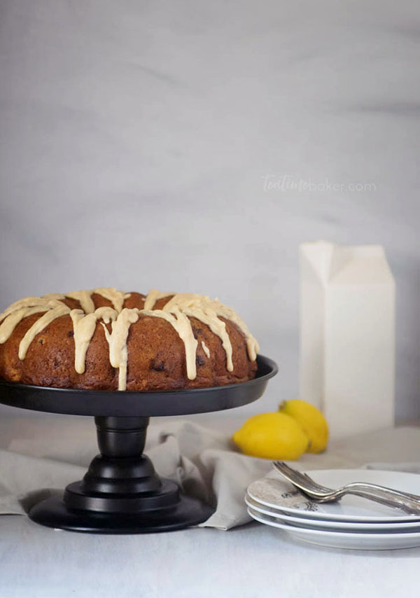 Lemon Blueberry Bundt Cake topped with brown butter icing is a delicious summer treat | Bundt Cake - click for recipe