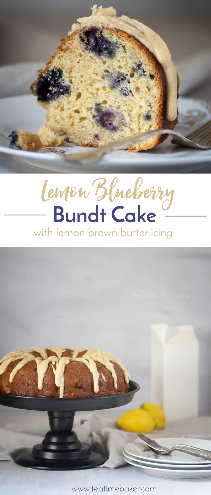 Lemon Blueberry Bundt Cake with Lemon Brown Butter Glaze