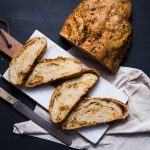 Breakfast gets an upgrade with this delicious rustic chorizo and cheddar loaf. With swirls of cheese and spicy chorizo throughout it's sure to be a fast favorite | The Teatime Baker | rustic bread recipe | breakfast recipe | #rusticbreadrecipe