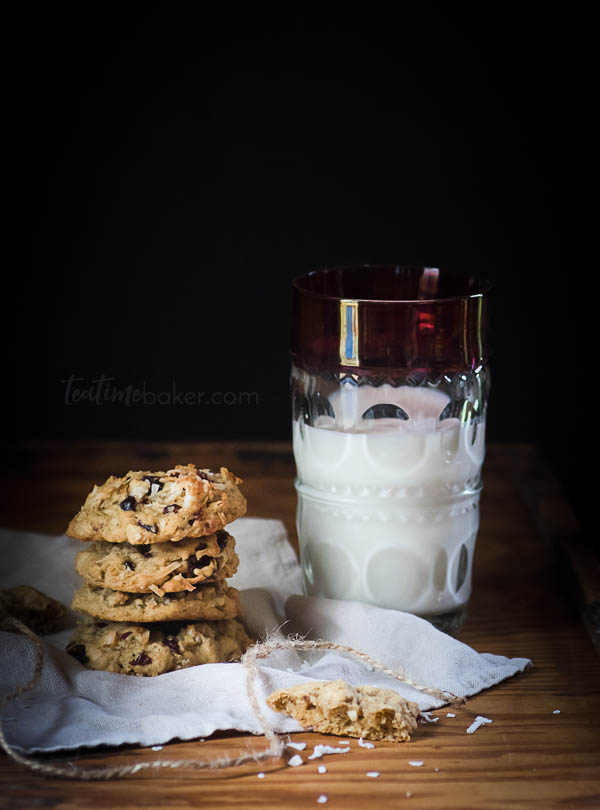Coconut Cranberry Oatmeal Cookies are a tasty trail cookie, perfect for fall hikes, camping and tailgating!   Cookie Recipe   The TeatimeBaker   Holiday Baking   #oatmealcookierecipe