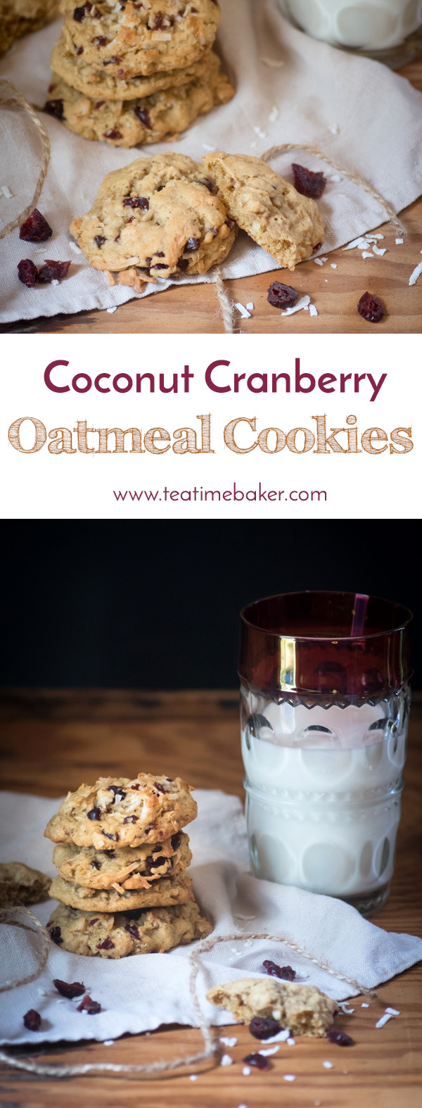 Coconut Cranberry Oatmeal Cookies