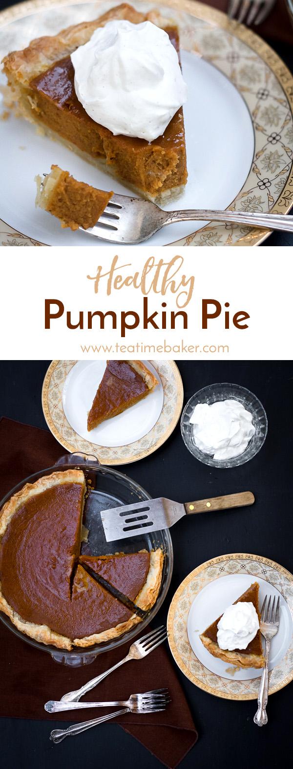 Healthy Pumpkin Pie with Cinnamon Whipped Cream