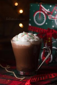 Hot Chocolate with Peppermint Whipped Cream is just what you need for cold winter nights wrapping gifts in front of the fireplace. Ready in 10 minutes! | The Teatime Baker | #hotchocolatefromscratch #peppermintwhippedcream