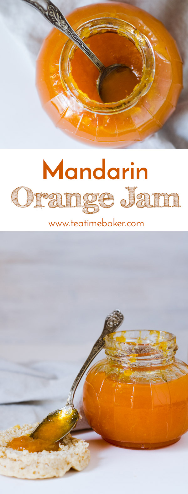 Chase the winter blues with a fresh batch of homemade Mandarin Orange Jam. This quick and easy to make jam recipe uses just five ingredients! No pectin or canning required. | The Teatime Baker | Easy jam recipe | low sugar jam | #mandarinorangejamrecipe #easylowsugarjam