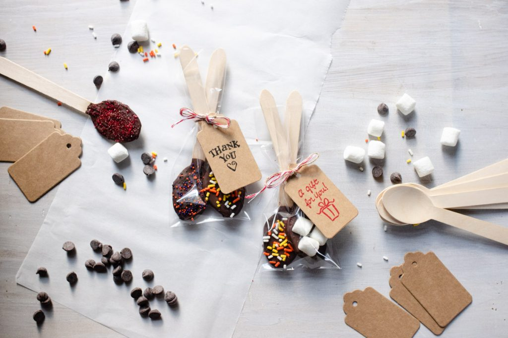 Chocolate spoons packaged and ready to give as gifts