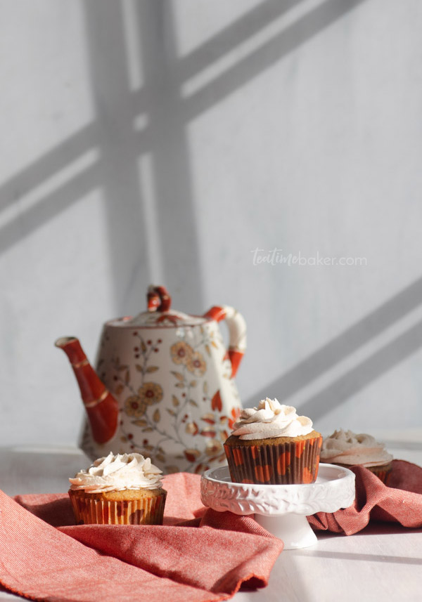 Apple Cider Cupcakes with tea