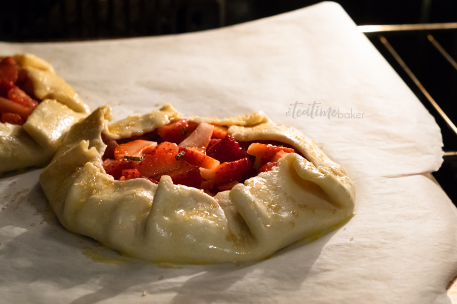 Simple strawberry galette baking in the oven