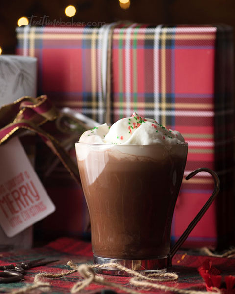 Hot Chocolate with Peppermint Whipped Cream